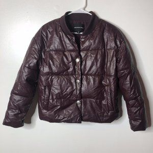 Who What Wear Womens Eggplant Puffer Jacket Size S